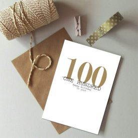 100th Birthday card. Happy 100th Birthday. Gold and black birthday card. Modern typography age birthday card. Birthday card 100 today.