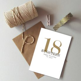 18th Birthday card. Happy 18th Birthday. Gold and black birthday card. Modern typography age birthday card. Recycled birthday card 18 today.