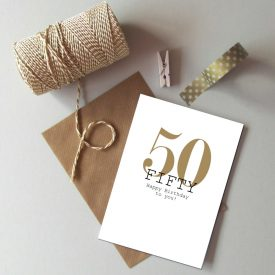50th Birthday card. Happy 50th Birthday. Gold and black birthday card. Modern typography age birthday card. Recycled birthday card 50 today.