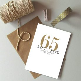 65th Birthday card. Happy 65th Birthday. Gold and black birthday card. Modern typography age birthday card. Birthday card 65 today.