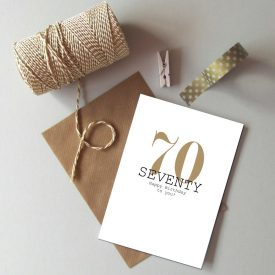 70th Birthday card. Happy 70th Birthday. Gold and black birthday card. Modern typography age birthday card. Recycled birthday card 70 today.