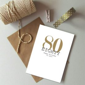80th Birthday card. Happy 80th Birthday. Gold and black birthday card. Modern typography age birthday card. Birthday card 80 today.