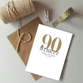 90th Birthday card. Happy 90th Birthday. Gold and black birthday card. Modern typography age birthday card. Birthday card 90 today.