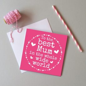 Best Mum in world Mother's day card. Mum Mother's day card. Cute Mother's day card for Mum. Pink hearts Mother's day card Mum Birthday card