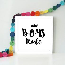 Boys rule, girls rule Framed children's art print. Boys bedroom art. Boys bedroom art. Gift for little girls or boys. Boys rule art print.