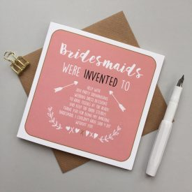 Bridesmaid card. Card for bridesmaid. Thank you bridesmaid card. Wedding card for bridesmaid.