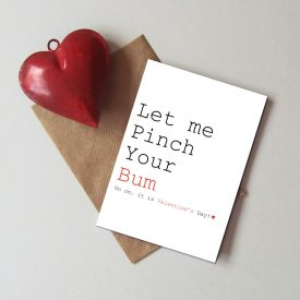 Fun and cheeky Valentine's day card. Funny Valentines's day card. Humorous Valentine's card. Card for Valentine.