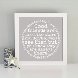 Gift for friend. Framed art print. Present for best friend. Friends are like stars framed art print. Christmas gift for friend.