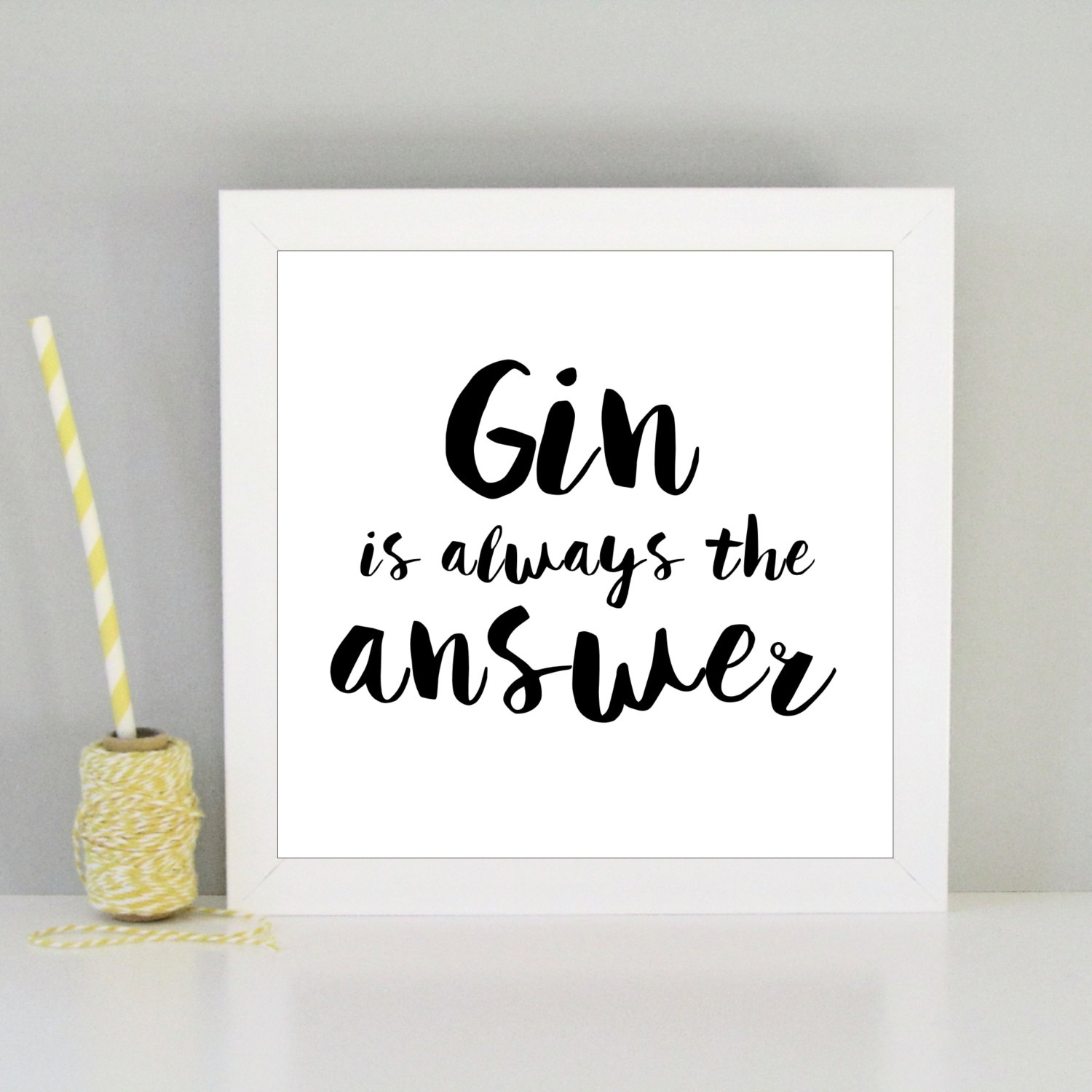 Framed funny gin art print always sparkle Gifts for kitchen lovers