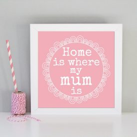 Gift for Mum or Mom. Mother' day gift idea. Framed art print for Mum. Pink Mother's day gift, Birthday gift for Mum. Home is where Mum is