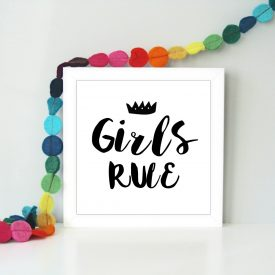 Girls rule, boys rule Framed children's art print. Girls bedroom art. Boys bedroom art. Gift for little girls or boys. Girls rule art print.