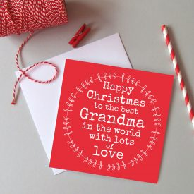 Grandma Christmas card. Christmas card for Grandma. Family Christmas cards. Best Grandma Christmas card. Best Grandma in the world card.