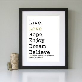 Inspirational motivational art print. Modern wall art. Typography black and gold. Quirky Christmas gift present. Gifts for men women.