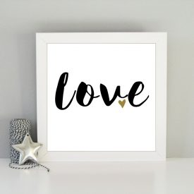 Love framed art. Romantic gift. Christmas gift idea. Monochrome typography love print. Black gold love print. Valentines, wedding gift idea