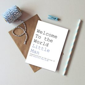 Recycled New Baby Boy card. Welcome to the world little Man baby boy card. New baby Boy greetings cards. Blue star new baby boy card.