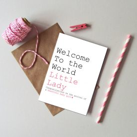 Recycled New Baby Girl card. Welcome to the world little lady baby girl card. New baby girl greetings cards. Pink star new baby girl card.
