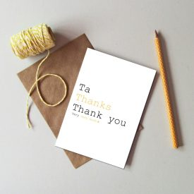 Recycled Thank you card. Ta, thanks thank you very much. Modern typography thank you card. Black and yellow. Star thank you greetings card