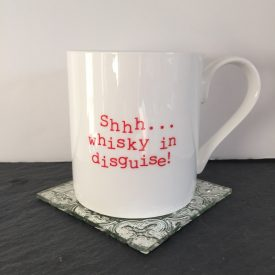 Shhh.. Whisky in disguise mug cup. Whisky themed gift fun and quirky gift for men or women Coffee tea mug cup. Christmas gift Typography mug