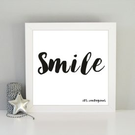 Smile it's contagious framed art print. Inspirational print. Christmas gift for girls. Stylish framed art print Monochrome typography print